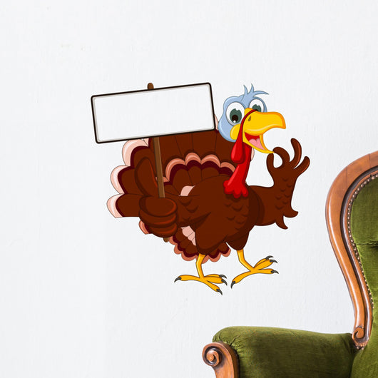 Funny Turkey Cartoon Posing with blank sign Wall Decal