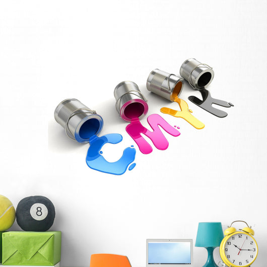 Spilled CMYK paint Wall Decal