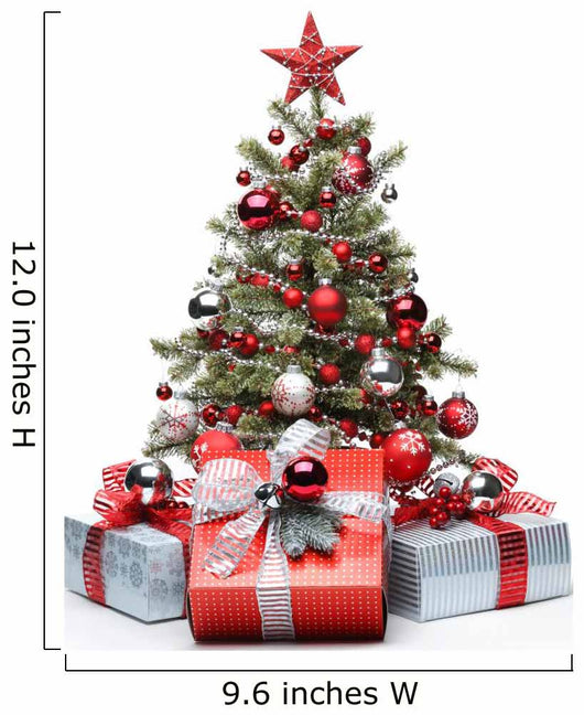 Decorated Christmas tree and gifts Wall Decal