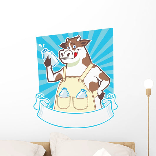 cow holding a bottle Wall Decal