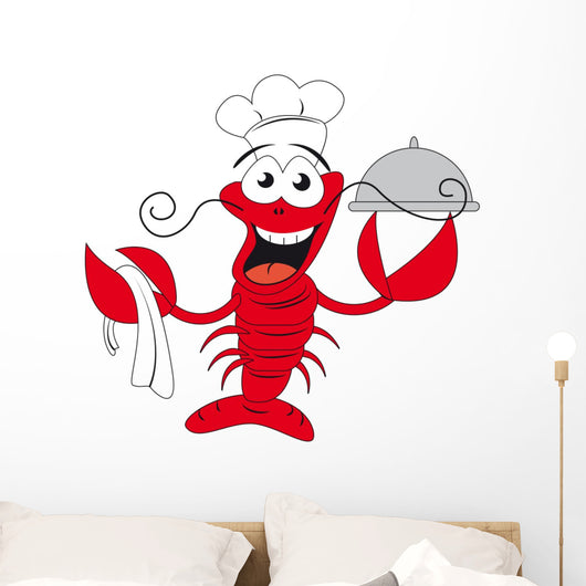 Lobster chef holding a plate - funny vector illustration Wall Decal