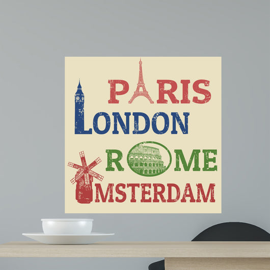 Paris, London, Rome and Amsterdam stamps Wall Mural
