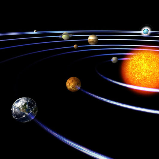 schematical image of the solar system..With Clipping Path