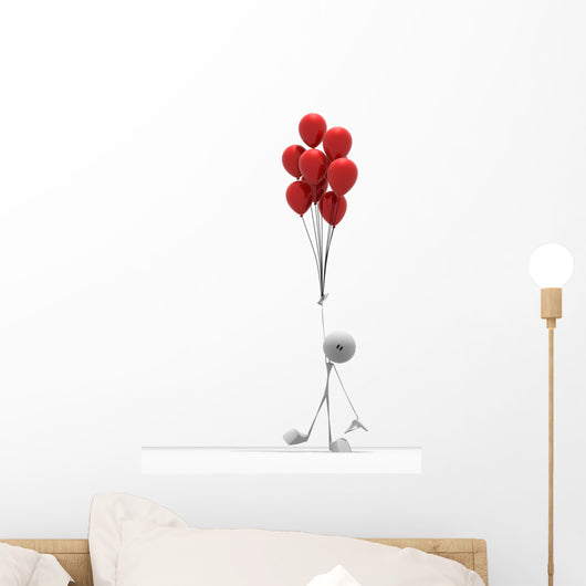 small character with red balloons Wall Decal