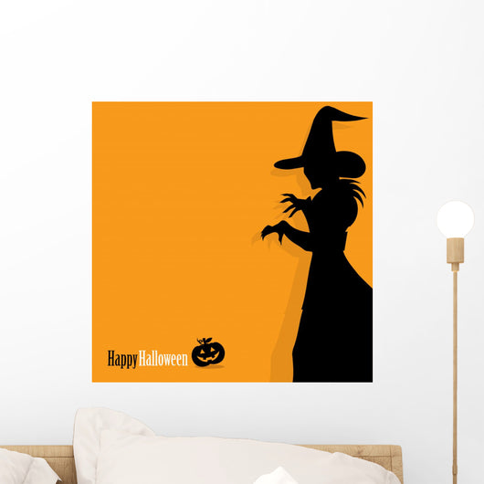 Happy Halloween background with witch Wall Mural