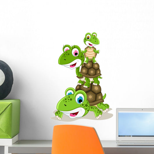 Happy Family of Turtle Cartoon Wall Decal