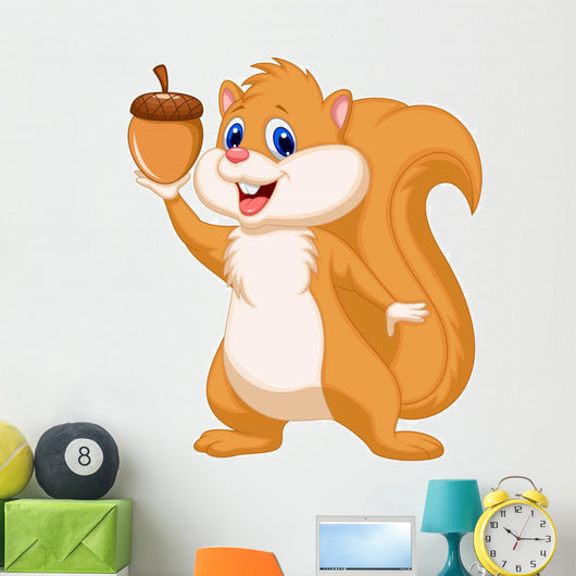 Squirrel cartoon with nut Wall Decal