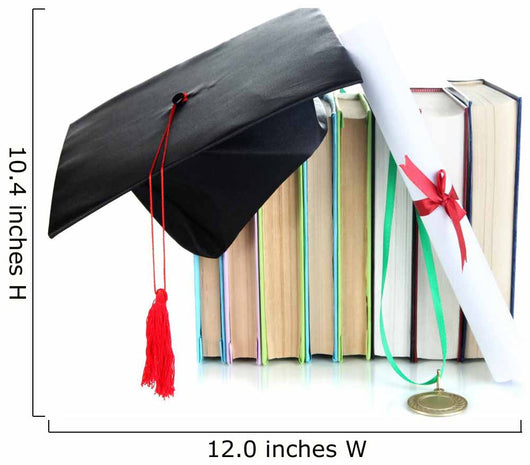 Medal for achievement in education with diploma, hat and books