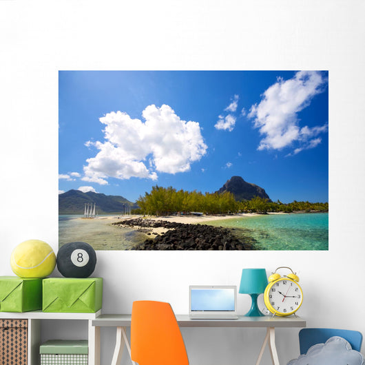 Tropical lagoon on south coast of Mauritius Island Wall Mural