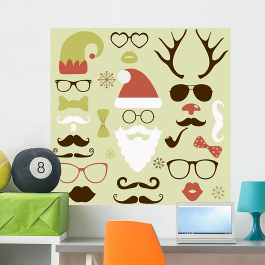 Christmas fashion silhouette set hipster style Wall Decal