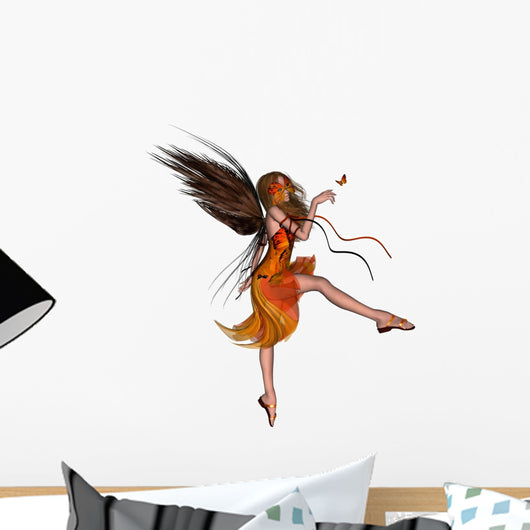 Butterfly Fairy - Orange Wall Decal