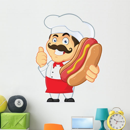 Chef Holding Hot Dog Wall Decal
