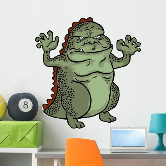 godzilla cartoon wall decal – wallmonkeys