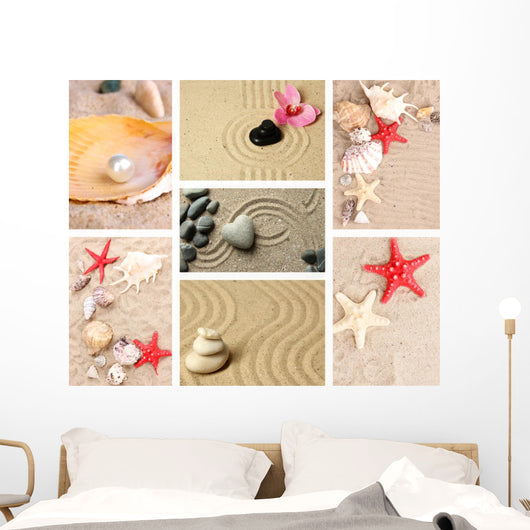 Collage of Zen Garden with Sand and Stones