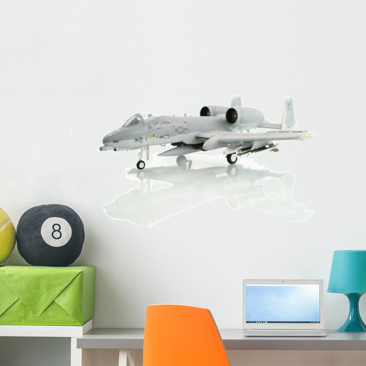 Military Miniature Toy Airplane on White Background Wall Decal