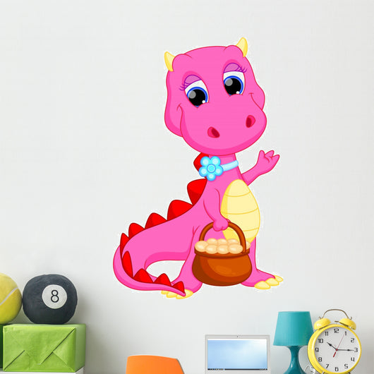Cute Female Dragon with a Basket of Eggs
