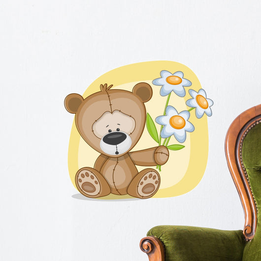 Bear with flowers Wall Decal
