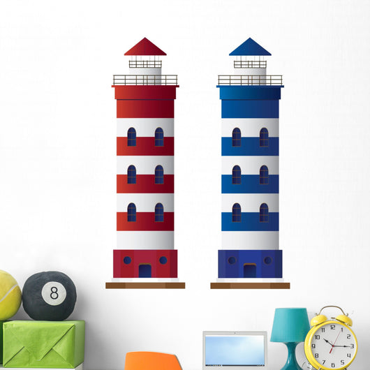 Vector lighthouse isolated on white background. Wall Mural