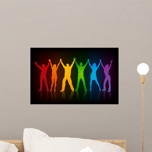 colorful silhouettes of people supporing  LGBT rights Wall Mural