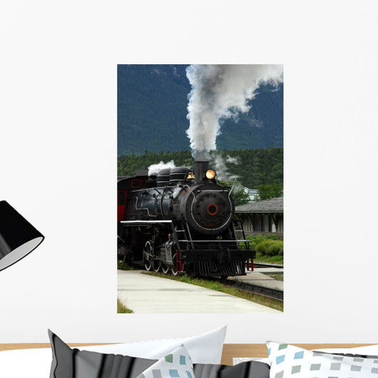 steam engine train pulling out of the station Wall Mural