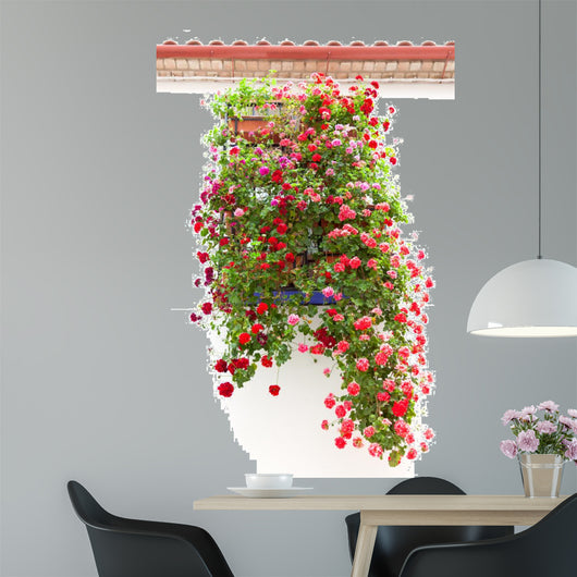 Typical Window decorated Pink and Red Flowers, Mediterranean Eur Wall Mural