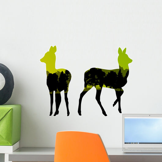 Doe venison deer animal silhouettes in wild nature forest landsc Wall Decal