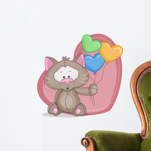 Cat with baloons Wall Decal