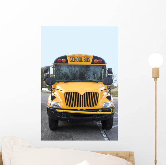 A view of the front of a school bus. Wall Mural