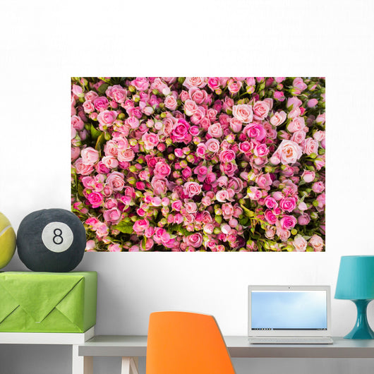 Abstract background of roses. Wall Mural