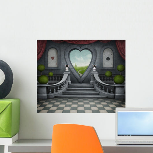 Fantastic background and door of heart. Wall Mural