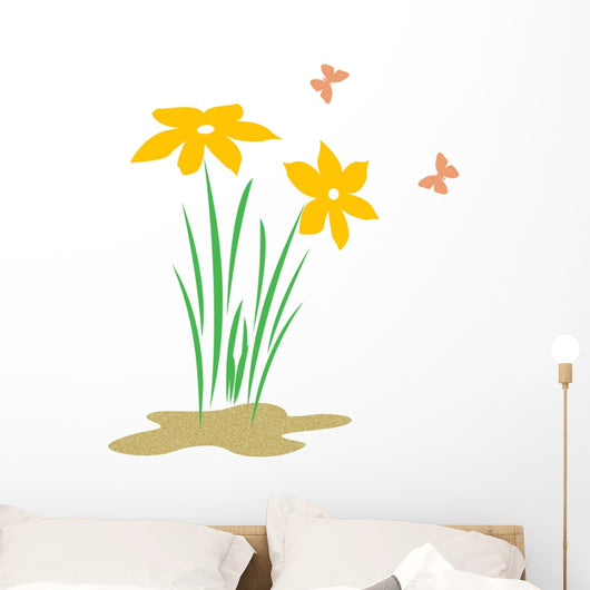 flowers and butterflies Wall Mural
