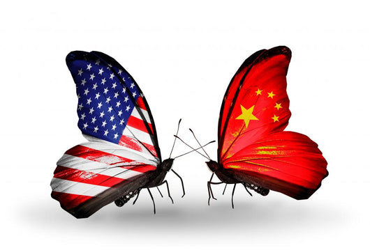 Two Butterflies with Flags  Usa and China Wall Decal