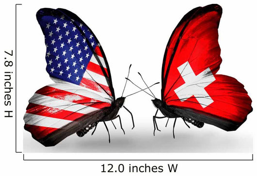 Two Butterflies with Flags Usa and Switzerland