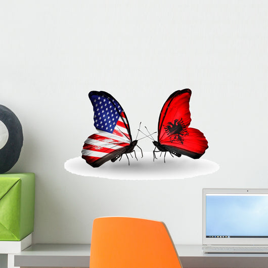 Two Butterflies with Flags Usa and Albania Wall Mural