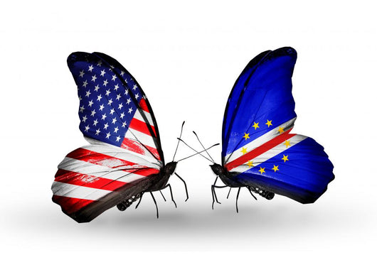 Two Butterflies with Flags Usa and Cape Verde Wall Decal