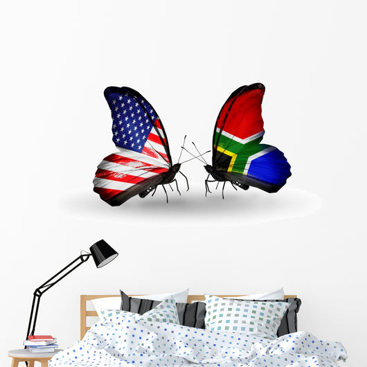 Two Butterflies with Flags  Usa and South Africa Wall Decal