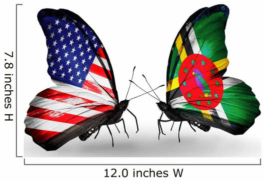 Two Butterflies with Flags Usa and Dominica Wall Decal