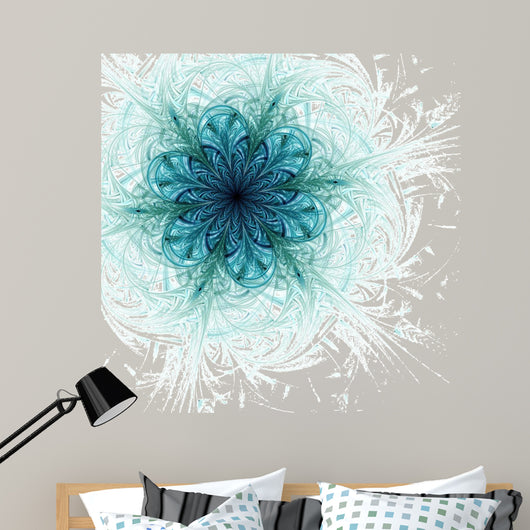 Blue fractal flower pattern Wall Mural