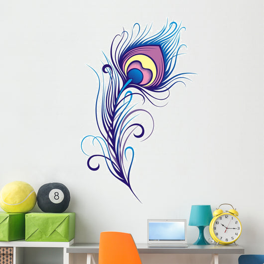 Stylized peacock feather Wall Decal