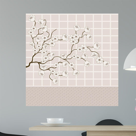 Background of grid and branches with flowers Wall Mural