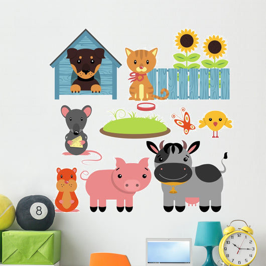 Set of cute domestic animals Wall Decal