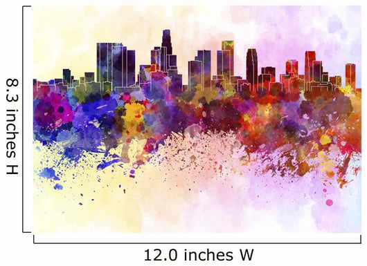 Los Angeles skyline in watercolor background