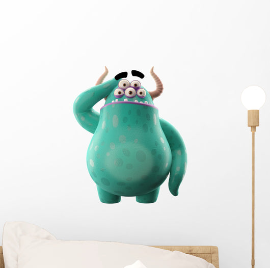 3D object, monster, funny cartoon isolated on white background Wall Decal