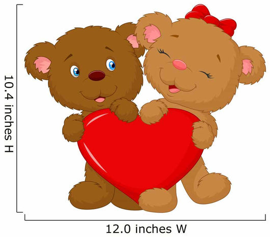 Bear couple holding red heart shape Wall Decal