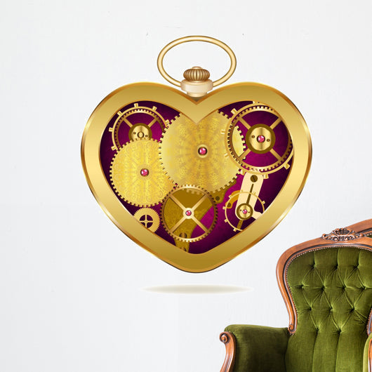 Clockwork heart-shaped clock. Isolated on white background. Orig Wall Decal