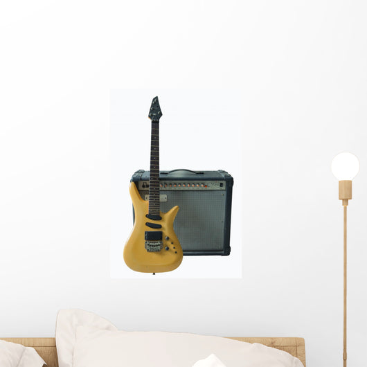 vintage electric guitar and rare vintage amplifier Wall Decal