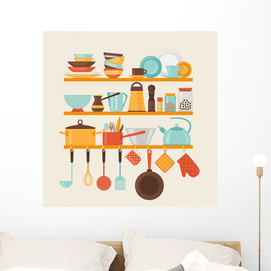 Card with kitchen shelves and cooking utensils in retro style. Wall Mural