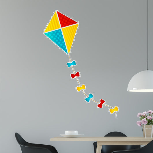 Color Paper Kite on White Background Wall Decal