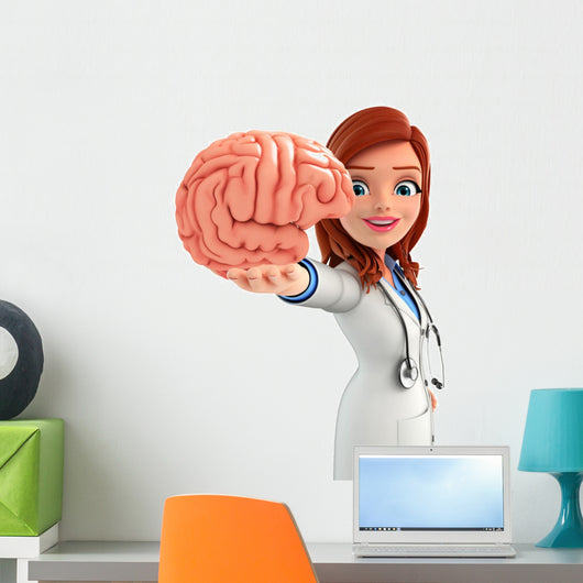 Young Doctor with brain anatomy Wall Decal