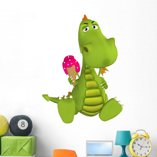 3D Cartoon Dragon with Ice Cream Wall Decal